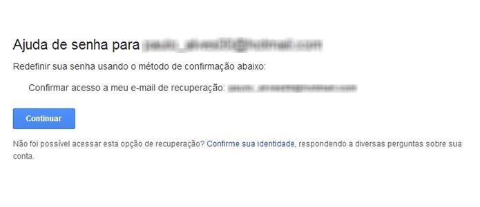 Confirme o envio de informações de recuperação de senha para o e-mail (Foto: Reprodução/Paulo Alves)