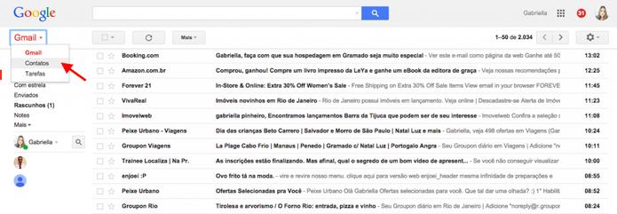 Clique em Contatos para adicionar uma pessoa no Gmail (Foto: Reprodução/Gabriela Fizsman)