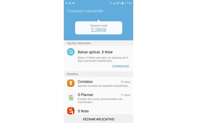 Confira todos os dados transferidos e finalize o processo no Galaxy S7 (Foto: Reprodução/Isabela Giantomaso)