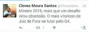 Twitter Cloves Santos Tupi-MG (Foto: Reprodução/Twitter)