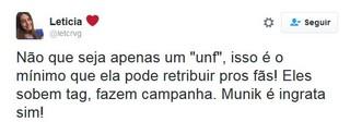 Internautas criticam Munik após unfollow (Foto: reprodução/twitter)