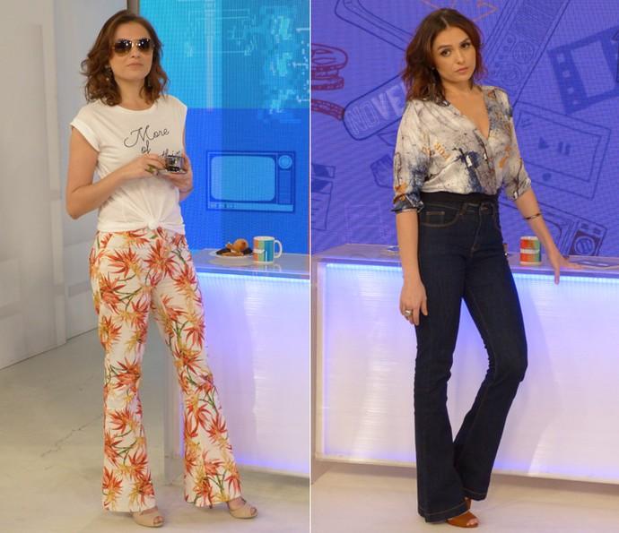 Monica Iozzi usa calça de cintura alta com camiseta sequinha ou cropped (Foto: Cristina Cople / Gshow)