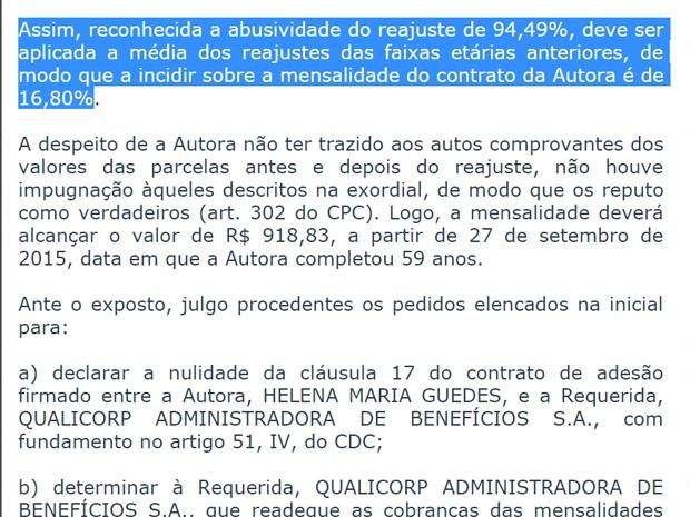Decisão da Justiça do DF que barra reajuste de plano de saúde (Foto: Reprodução)