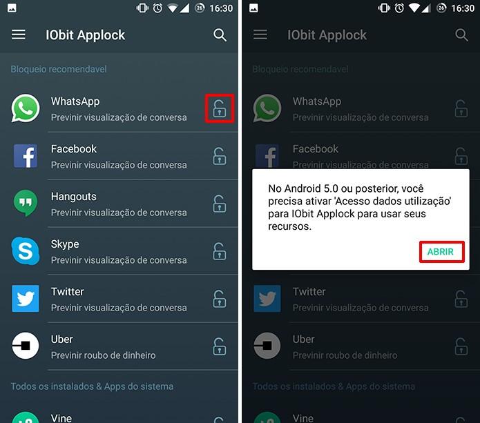 IObit Applock precisa que usuário conceda autorização no Android 5 ou superior (Foto: Reprodução/Elson de Souza)
