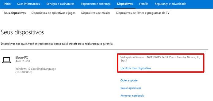 Microsoft mostra lista de dispositivos conectados à conta e última localização do PC (Foto: Reprodução/Elson de Souza)