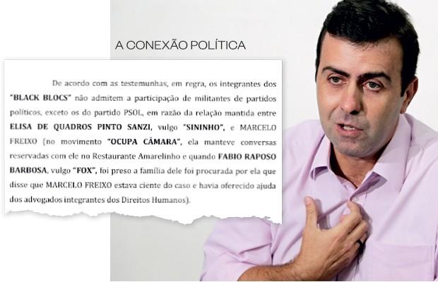 O deputado estadual Marcelo Freixo  (acima). Ele é citado  no inquérito por sua proximidade com os ativistas, mas não há nenhuma acusação criminal contra ele (Foto: Wilton Junior/Estadão Conteúdo)