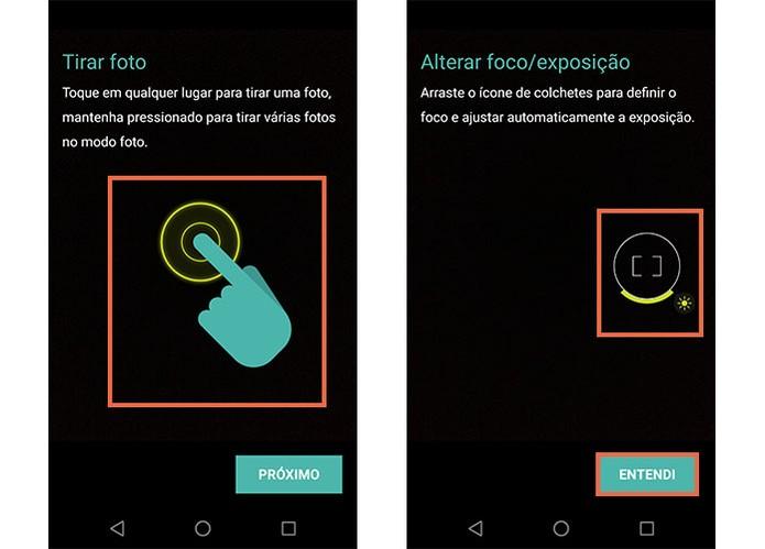 Veja como fica a usabilidade da câmera com toque na tela do Moto Z (Foto: Reprodução/Barbara Mannara)
