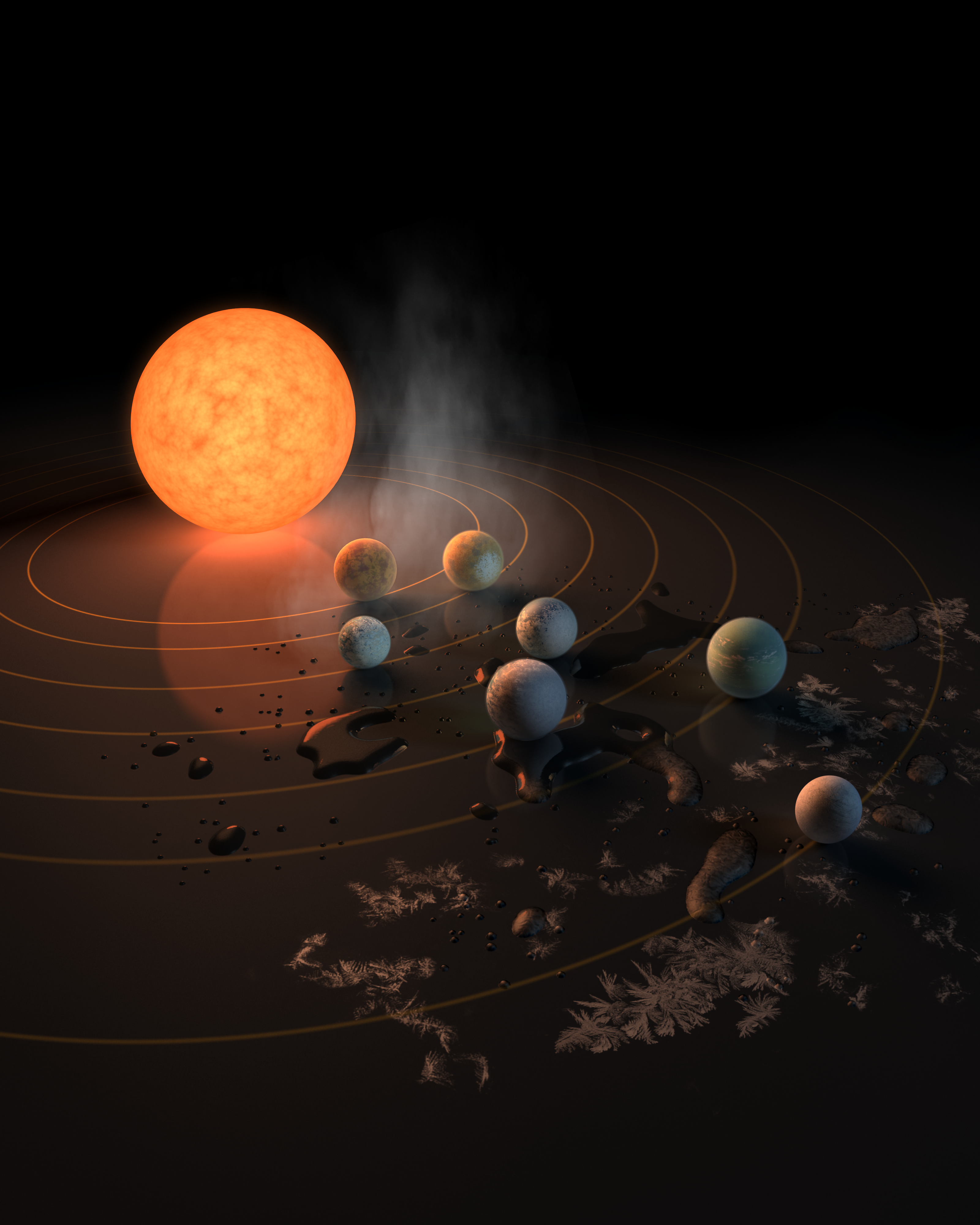 Capa da revista Nature ilustra os sete exoplanetas e seus potenciais de abrigar água em forma de gelo, líquida ou de vapor (Foto: NASA/R. Hurt/T. Pyle)