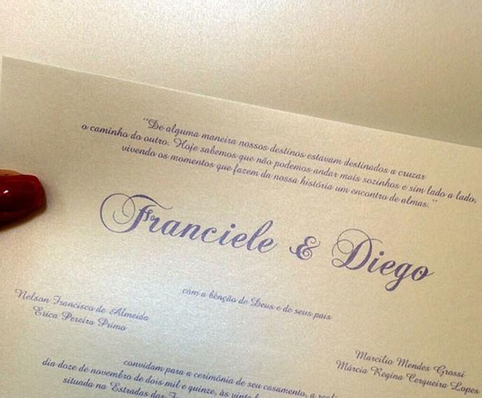Confira o convite de casamento do casal #FranGo (Foto: Arquivo Pessoal)
