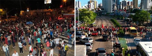 MST e manifestantes da #RevoltadoBusao se unem em protesto nesta terça, em Natal (Foto: Felipe Gibson/G1 e Fernanda Zauli/G1)