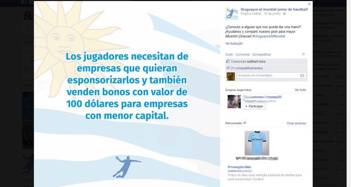Seleção uruguaia de handebol que vai ao Mundial Júnior (Foto: Reprodução/Facebook)