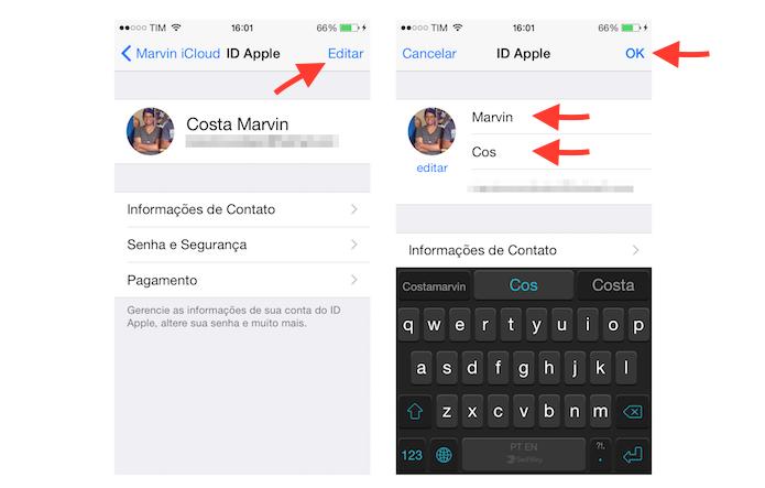 Alterando o nome de exibição de uma conta do iCloud através de um dispositivo iOS (Foto: Reprodução/Marvin Costa)
