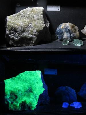 Minerais fluorescentes no claro e no escuro (Foto: Mariane Rossi / G1)