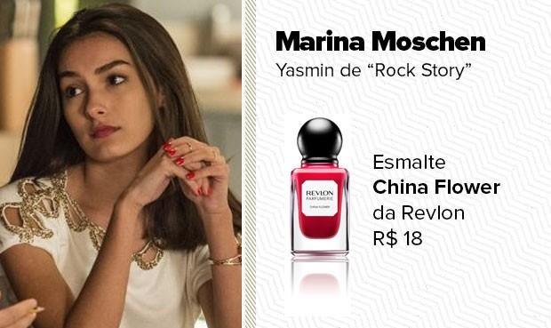 O esmalte laranja, usado pela personagem Yasmin (Marina Moschen), é da Revlon, cor China Flower. (Foto: Sandy Bahia/EGO)