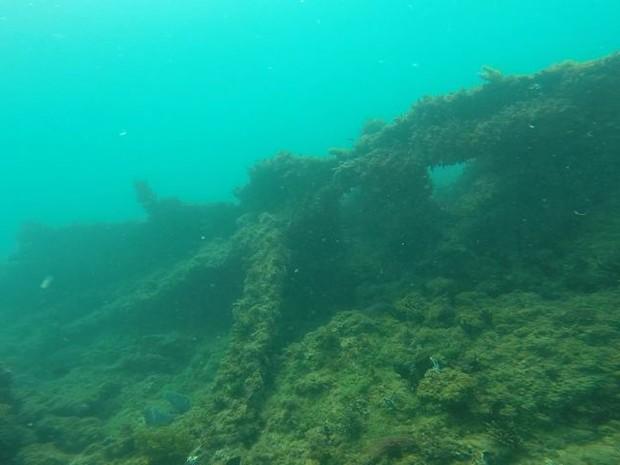 Dois navios naufragados foram descobertos em Iriri, no município de Anchieta (Foto: Reprodução/TV Gazeta)