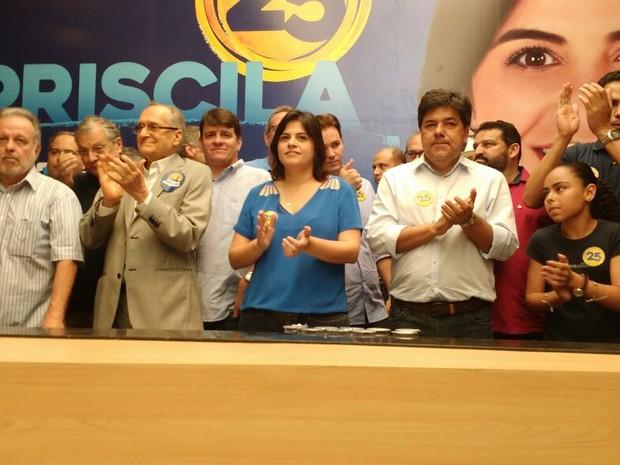 Convenção do DEM oficializa candidatura de Priscila Krause à Prefeitura do Recife (Foto: Dele Wanderley/TV Globo)