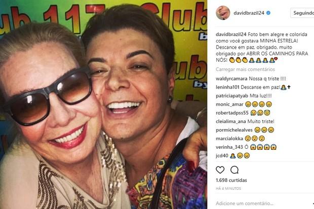 David Brazil lamenta morte de Rogéria (Foto: Reprodução/Instagram)