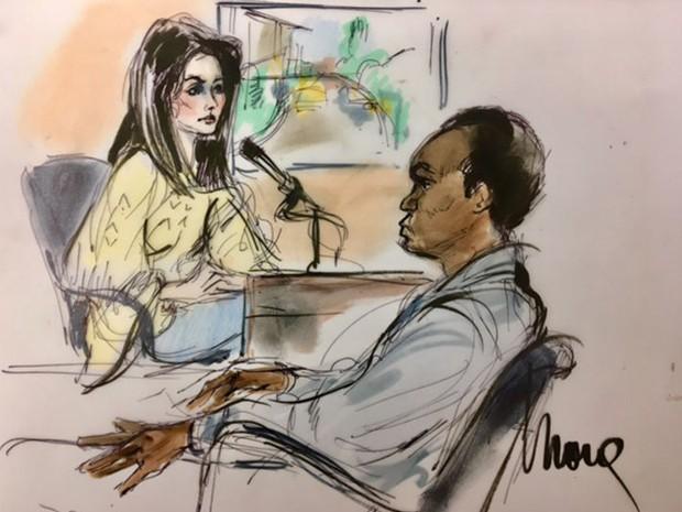 Kendall Jenner e  Shavaughn McKenzie durante depoimentos (Foto: Mona Edwards)