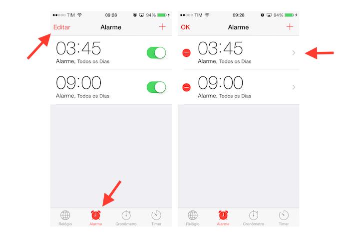Acessando as configurações de um alarme configurado no iPhone (Foto: Reprodução/Marvin Costa)