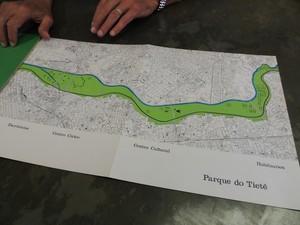 Projeto para o Rio Tietê de Oscar Niemeyer (Foto: Carolina Paes/G1)