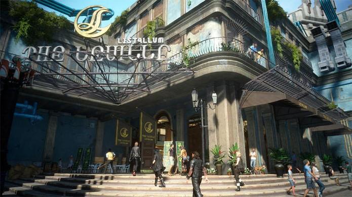Cidade de Lestallum em Final Fantasy 15 exibe o visual que mistora moderno e fantasioso no jogo (Foto: Reprodução/IGN)