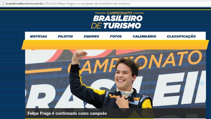 Site do Brasileiro de Turismo ainda confirmava nesta sexta-feira (7) o título de Felipe Fraga por decisão do STJD (Foto: Reprodução/Site do Campeonato Brasileiro de Turismo)