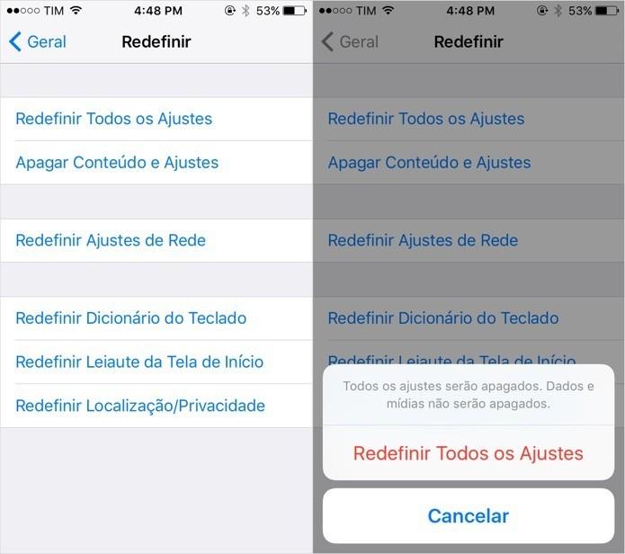 Redefina as configurações do iOS (Foto: Foto: Reprodução/Helito Bijora)