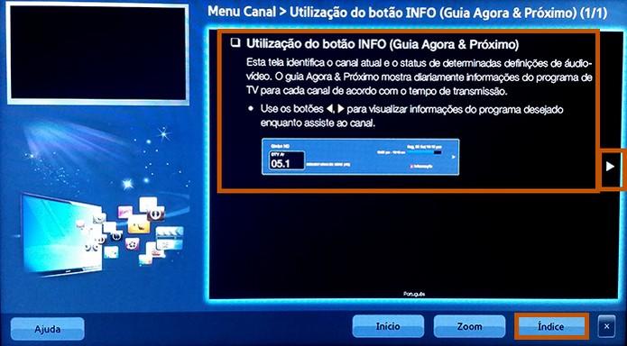 Ao abrir um dos itens do e-Manual as instruções são exibidas na tela (Foto: Reprodução/Barbara Mannara)