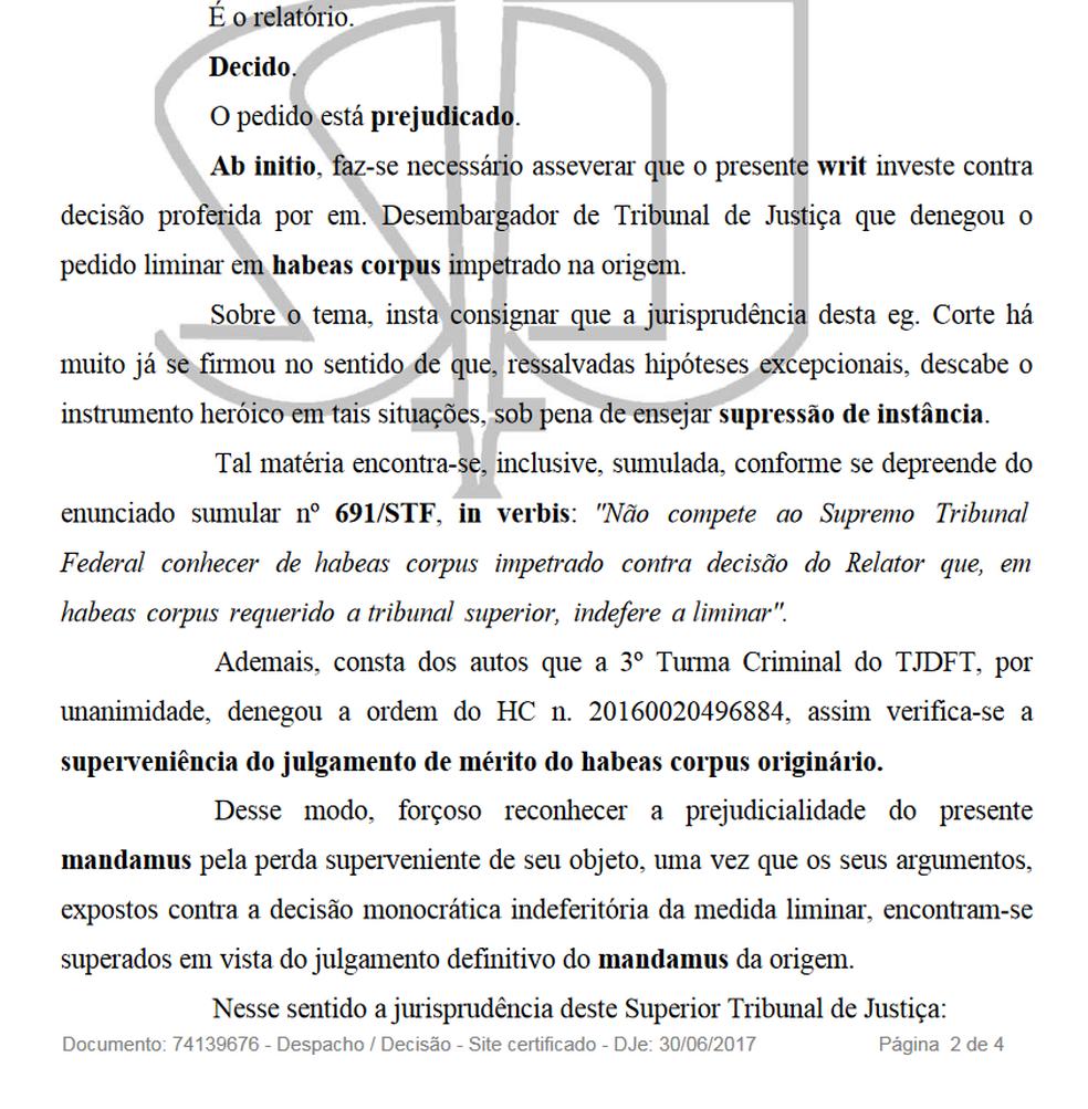 Trechos do relatório com decisão do STJ. (Foto: Reprodução/STJ)
