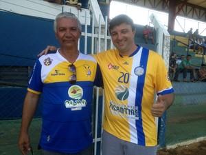 Hélio Brito, presidente do Interporto  e Richard Sanches, presidente do Palmas (Foto: Vilma Nascimento/GloboEsporte.com)