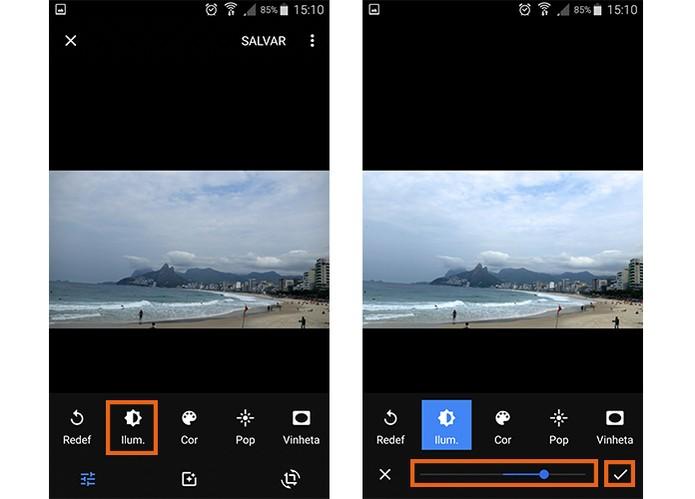Ajuste a iluminação da imagem pelo Google Photos (Foto: Reprodução/Barbara Mannara)