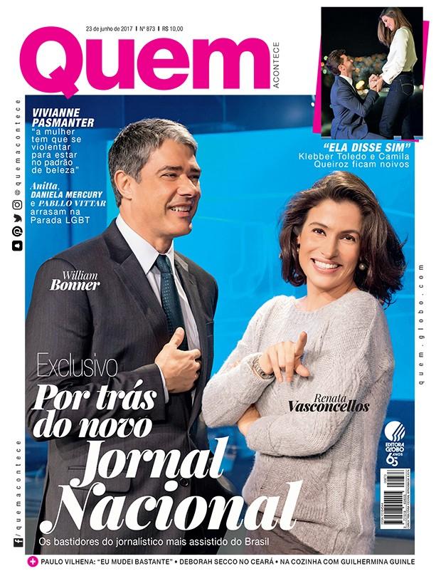 William Bonner e Renata Vasconcellos na capa da QUEM (Foto: Sergio Zális/TV Globo)