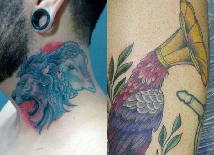 As tatuagens do Leão e o Cordeiro no percoço e do pássaro com cabeça de gramofone foram feitas no processo seletivo. A primeira simboliza a fé em Jesus e a segunda, a música (Foto: Arquivo Pessoal)