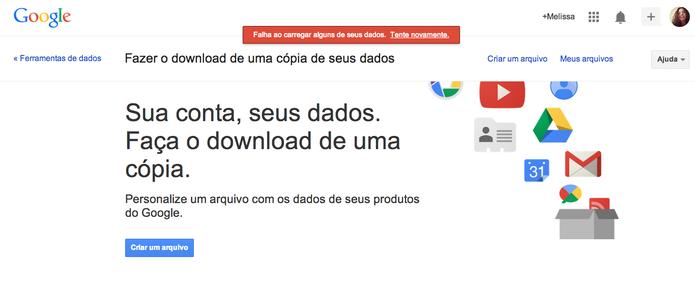 Google Takeout mostra mensagem de erro após tentar download de dados do Orkut (Foto: Reprodução/Google)