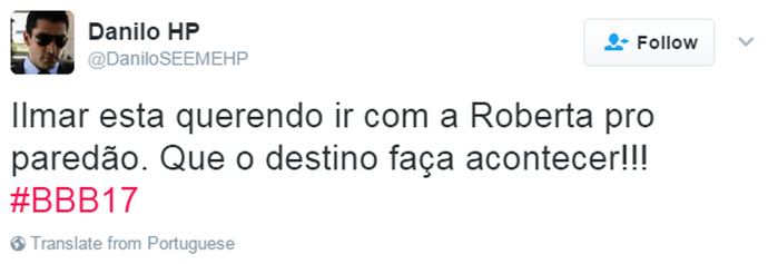 Tweet Ilmar Roberta (Foto: Reprodução da Internet)