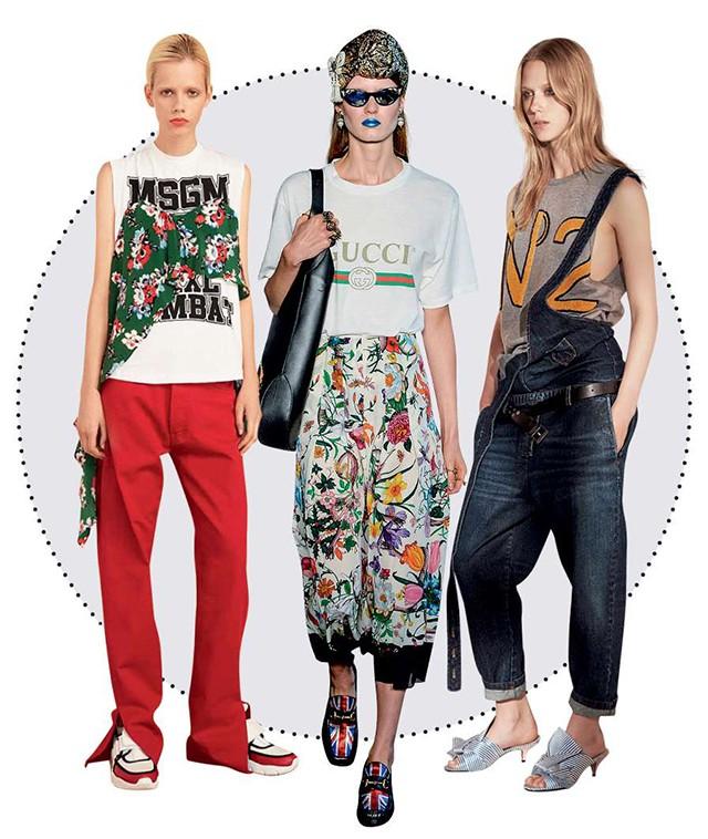 Camiseta grifada: a partir da esquerda, looks MSGM, Gucci e Nº21 (Foto: Divulgação)