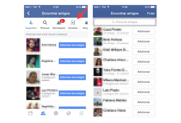 Adicionando no Facebook novos contatos da agenda do iOS (Foto: Reprodução/Marvin Costa)