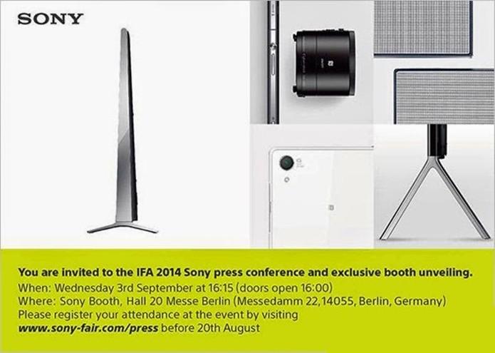 Convite da Sony para lançamento do Xperia Z3 na IFA (Foto: Reprodução/Xperia Blog)