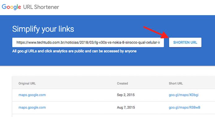 Ação para encurtar uma URL usando o serviço Google URL Shortener (Foto: Reprodução/Marvin Costa)