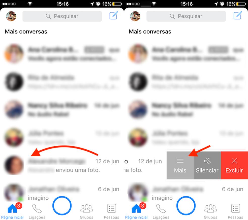 Opção para visualizar mais opção para um chat do Messenger (Foto: Reprodução/Marvin Costa)