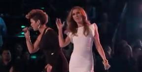 Tessanne Chin e Celine Dion no The Voice (Foto: Youtube / Reprodução)