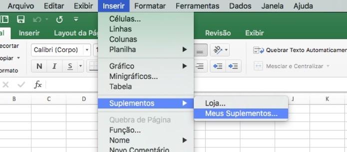 Caminho para o gerenciador de Suplementos do Excel (Foto: Reprodução/André Sugai)