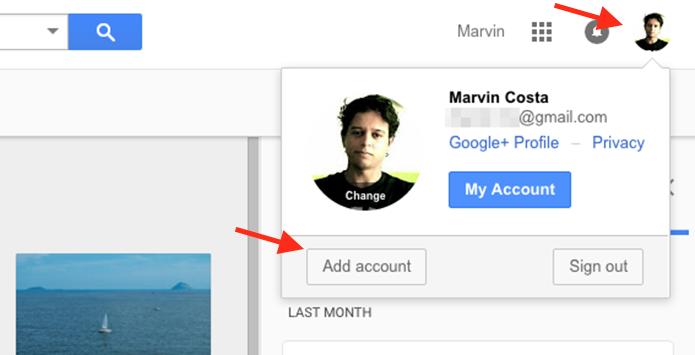 Acessando a página para login de uma segunda conta do Google Drive pelo navegador web (Foto: Reprodução/Marvin Costa)