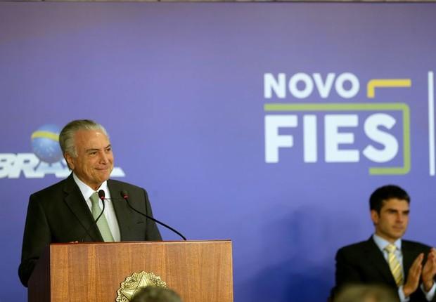 Presidente Michel Temer sanciona a Lei do Novo Fies (Foto: Wilson Dias/Agência Brasil)