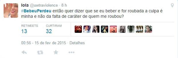 Crítica de usuário do Twitter a campanha do Ministério da Justiça 'Bebeu, perdeu'. (Foto: Reprodução/Twitter/@JusticaGovbr)