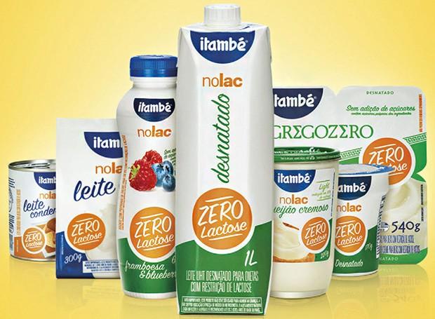 A Linha Nolac, da Itambé, é a mais completa do mercado e oferece uma grande diversidade de produtos. Na foto, alguns dos sucessos de venda: leite condensado, leite em pó integral, iogurte sabor framboesa & blueberry zero , leite UHT desnatado, requeijão light, iogurte natural desnatado e Iogurte Grego Zero (Foto: Divulgação)