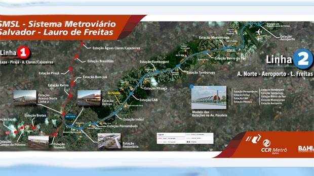 Mapa traz estações da Linha 1 e da Linha 2 do metrô (Foto: Divulgação / CCR)