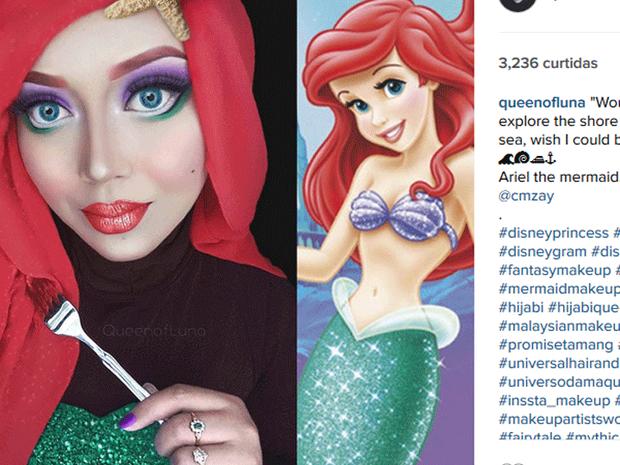 Saraswati como a Ariel, de 'A Pequena Sereia' (Foto: Reprodução/Instagram/queenofluna)