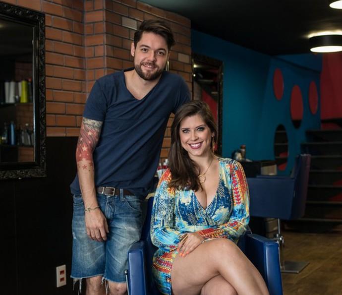 Andressa e Nasser são donos de um salão de beleza no Rio de Janeiro (Foto: Camila Serejo/Gshow)