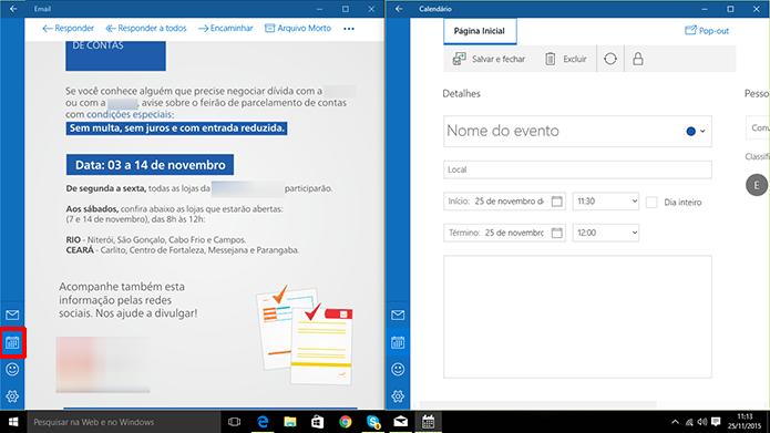 E-mail do Windows 10 é integrado com calendário do sistema para adicionar compromisso (Foto: Reprodução/Elson de Souza)